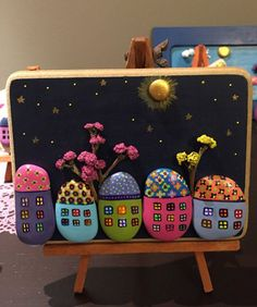 Handmade Painted Rock/Stone Houses as Gift or Home Decor