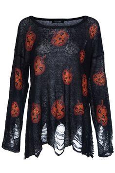 Halloween Pumpkins Print Black Jumper-Romwe