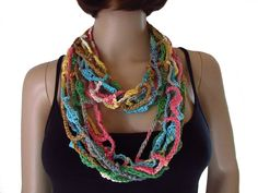 Crochet Necklace, Jewelry, Style, Products, Fashion, Fashion Styles, Jewelry Dish, Scarf Crochet, Arts And Crafts