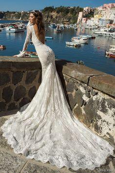 julie vino fall 2017 bridal long sleeves deep plunging v neck full embellishment gorgeous sexy elegant sheath wedding dress low back chapel train (1206) bv