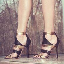 Mujer 2017 Marca de Moda Botines sandalia de oro y negro Los Colores Mezclados Peep Toe Recortes Patchwork delgados Tacones Altos Zapatos de Las Sandalias mujer(China (Mainland))