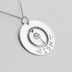 Silver Dandelion Necklace Silver Wish by WillowbrookArtistry