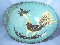 Mid Century Modern Huge Bowl with Sgraffito Rooster or Fighting Cock