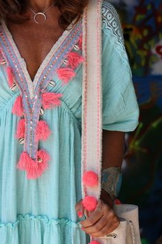 Such a great upcycle on an old caftan dress or top. Between the colors, the tassels, the sea shells and vintage trim, you are practically the poster child of boho. Gypsy Style, Boho Gypsy, Bohemian Style, Boho Chic, Estilo Hippie, Hippie Chic, Boho Outfits, Fashion Outfits, Fashion Tips