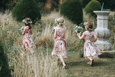 Flower Girls in Pink Floral Monsoon Dresses & Flower Crowns
