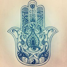 Hamsa Evil Eye Drawing