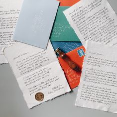 Handmade calligraphy letters from Santa on handmade paper with colourful envelopes