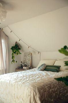 bedroom makeover  |  bistro lights and hanging plants