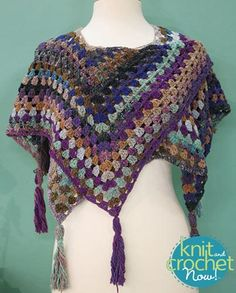 Free crochet Blue Lagoon Shawl pattern download Design by Jenny King Featured in Season 6, episode 10, of Knit and Crochet Now! TV.