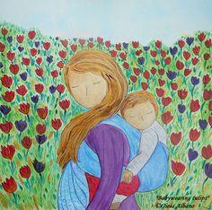 "BABYWEARING art painting motherhood art sketch Friday painting ""Babywearing Tulips"" original on paper by Gioia Albano Art Painting, Valentines Art, Linocut, Painting, China Ink, Motherhood Painting, Acrylic Colors, Art, Art Sketches"