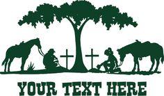 Praying Cowboy Cowgirl Cross Horse Tree Car Truck Window Vinyl Decal Sticker #Oracal