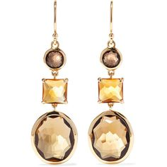 Ippolita Rock Candy 18-karat gold, citrine and quartz earrings (104.805 RUB) ❤ liked on Polyvore featuring jewelry, earrings, 18 karat gold earrings, earring jewelry, rock jewelry, rock earrings and quartz earrings