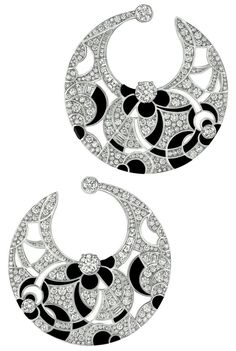 Midnight #Earrings from #CafeSociety - #Chanel - #FineJewelry collection in 18K white gold set with 466 #BrilliantCut - #Diamonds (6.4 cts), 14 #BaguetteCut diamonds (1.4 cts) and carved onyx - July 2014