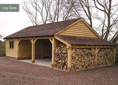 My Shed Plans - Daz - This wood store at the end of the workshop might be more sensible so the wood is protected from the prevailing wind and rain. - Now You Can Build ANY Shed In A Weekend Even If You've Zero Woodworking Experience! Firewood Storage, Shed Storage, Garage Storage, Carport With Storage, Boat Storage, Storage Area, Storage Design, Cheap Log Cabins, Carport Garage
