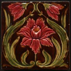 TH2938-Antique-Flower-amp-Buds-Art-Nouveau-Majolica-Tile-Corn-Bros-c-1900