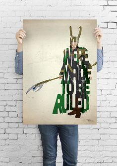 Loki typography art print poster based on a quote from the movie Thor on Etsy, $5.17