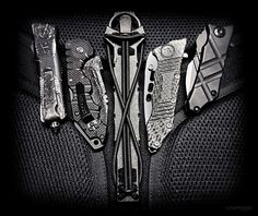 Some of my favorite EDC knives /// Microtech Troodon $300, Cold Steel AK 47 $75…