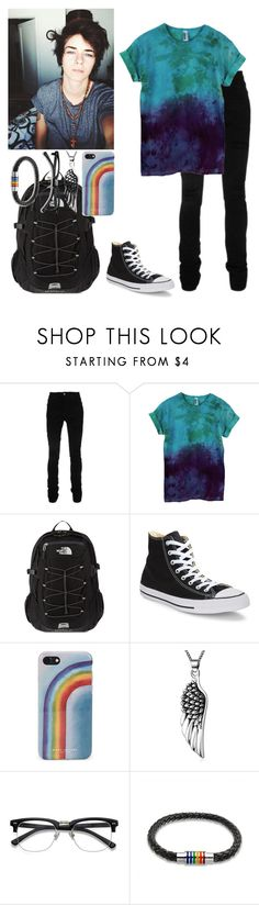 """""""-walks into school alone-~Kade (Gaý, sub)"""" by kahumphh-anon ❤ liked on Polyvore featuring AMIRI, The North Face, Converse, Marc Jacobs, Bling Jewelry, men's fashion and menswear"""
