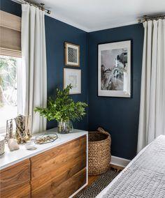 Blaue Wand im Schlafzimmer - Inspiration