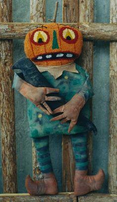 Primitive Halloween Pattern EPattern PDF Needlepunch JOL Crow Pumpkin Doll Folkart Folk Art  by Hickety Pickety AS16