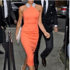 Orange Midi Dress Bright Orange Dress, has liner inside, zips up in the back and has a bit of stretch to the fabric! If the photos of the back of the dress make it seem a bit crooked it's because I have scoliosis, it's not the dress! Fits true to size ✨ Dresses Midi
