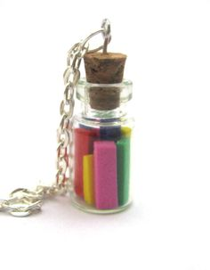 In a Bottle necklace rainbow glass vial necklace by Mandyscharms, £7.00