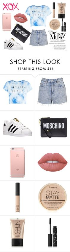 """""""xox"""" by sarahcb2002 ❤ liked on Polyvore featuring Topshop, GALA, adidas, Moschino, Lime Crime, NARS Cosmetics and Rimmel"""
