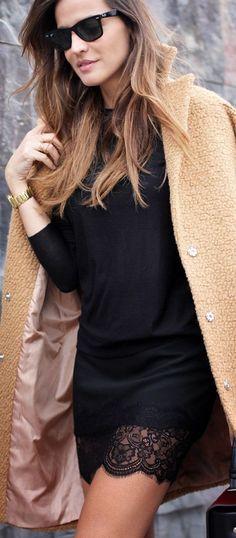 autumn, winter, lace, black, cream , outfit, lenjerie