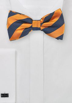 Navy and Amber Orange Stripe Bow Tie, $5 | Cheap-Neckties.com
