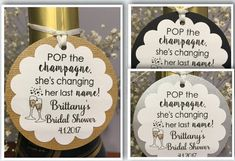 champagne tags bridal shower tags wine tags by ChrissyDsCrafts