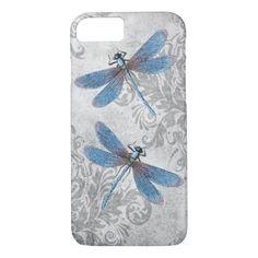 Vintage Grunge Damask Dragonflies iPhone 7 Case