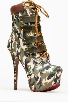 Alba Gold Plated Faux Glam Camo Lace Up Booties #ShopSimple