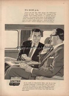 1956 United Airlines DC-7 Hollywood Men Playing Gin Ad
