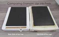 See a side by side comparison of the new style Stampin' Up! ink pad and old style. Reasons why the style has changed are listed. Ink Pads, Craft Items, Homemade Cards, All Design, Stampin Up Cards, Paper Crafts, Colours, Change, Colour Combinations