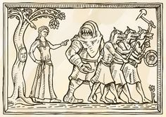 Medieval Maciejowski bible style art. Fantasy troll and wolf-men. Made for dwaler larp