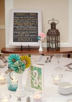 Love the pinwheels and the painted table numbers with the cute scrapbook paper