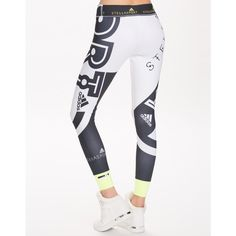 Adidas Stellasport Sc Tights Logo (580 SEK) ❤ liked on Polyvore featuring activewear, activewear pants, sports fashion, tights, white, womens-fashion and logo sportswear