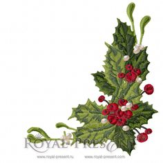Vintage Christmas Machine Embroidery Design with holly berry | Christmas Decorations & Motifs – Royal Present Embroidery – Machine Embroidery Designs