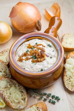 French Onion Soup Dip-  make a base w/o mayo etc to can in small jars!