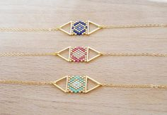 Double Triangle weaving of Perle gilded with fine gold bracelet – Schmuck Seed Bead Jewelry, Bead Jewellery, Diy Jewelry, Jewelery, Handmade Jewelry, Jewelry Design, Women Jewelry, Jewelry Making, Jewelry Accessories