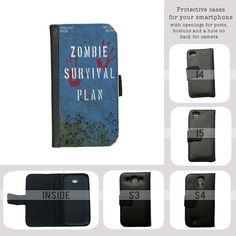 zombie survival plan apocalypse iPhone 4/4s case, iPhone 5/5s/5c case, Galaxy S3/S4/S5 case leather wallet book style cover on Etsy, $22.00