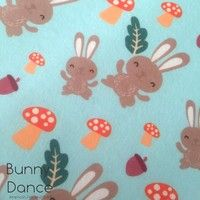 Bunny Print felt with mushrooms and acorns. Bunny Dance, Felt Sheets, Felt Bunny, Blue Backgrounds, Mushrooms, Reindeer, Craft Supplies, Gift Wrapping, My Favorite Things
