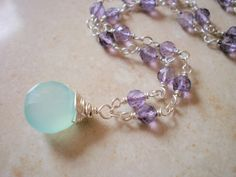 Sky Blue Chalcedony & Amethyst Silver Necklace