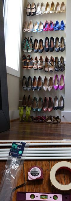 Use Tension Rods for Instant Shoe Organization is part of Organization Bedroom Tension Rods - Use Tension Rods for Instant Shoe Organization Click Pic for 25 DIY Small Apartment Decorating Ideas on a Budget Organization Ideas for Small Spaces Apartment Closet Organization, Budget Organization, Organizing, Organization Ideas For Shoes, Budget Storage, Diy Home Decor For Apartments, Apartment Decorating On A Budget, Apartment Ideas, Urban Apartment
