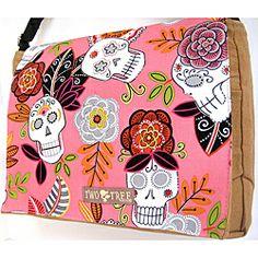 Handmade Medium Tan Flower Sugar Skulls Messenger Bag | Overstock.com Shopping - The Best Prices on Crossbody Bags