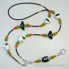 Halloween Ghost Bat Beaded Lanyard ID Badge by ArtisticTouches