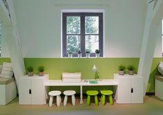 Ikea Stuva desks with stools