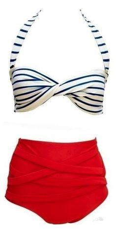 Swimsuit Swimwear Vintage Push Up High Waist Bikini Set