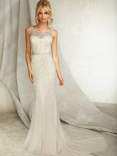 Beautiful 2013 Angelina Faccenda wedding dress style 1262 featuring a sweetheart bateau neckline and A-Line skirt from BestBridalPrices
