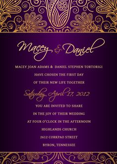 Royal purple and gold invitation, reminds me of Aladdin!